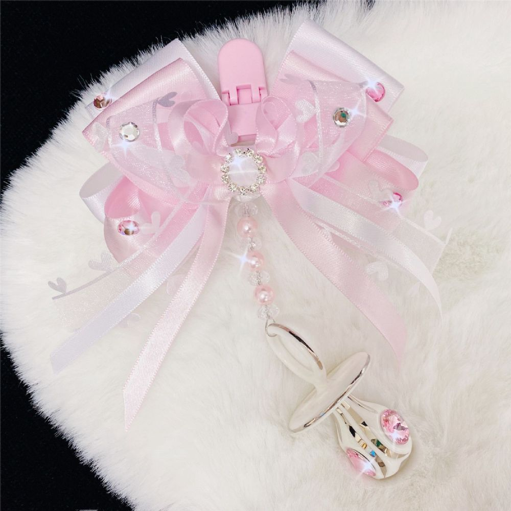 Stunning Hand Craft Pram Charm/White Bow and Crystal Dummy